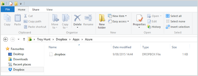 Nothing in the Azure folder
