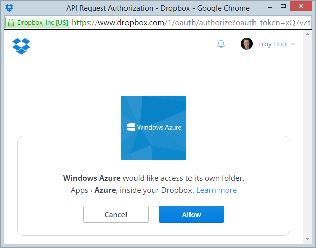 Dropbox prompting for access to Azure