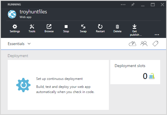 The deployments panel in Azure