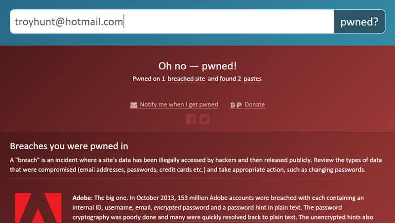 My email pwned in the Adobe data breach