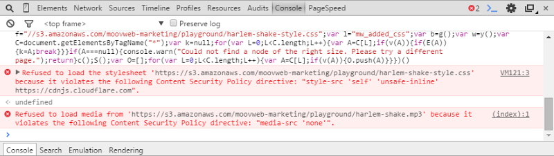 CSP errors when attempting to get HIBP to run the Harlem Shake script
