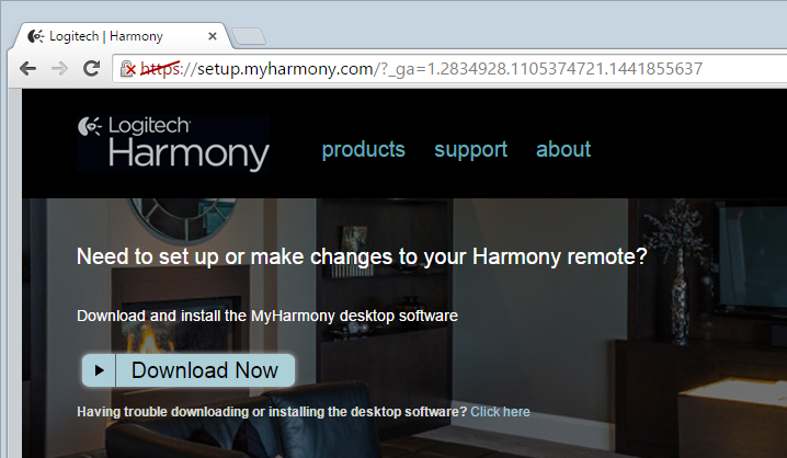 myharmony.com with browser security warning