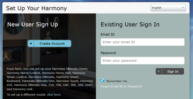 The Harmony app requires login first