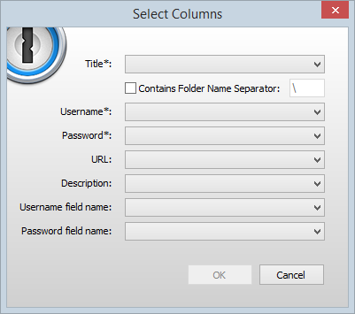 Selecting columns in 1Password