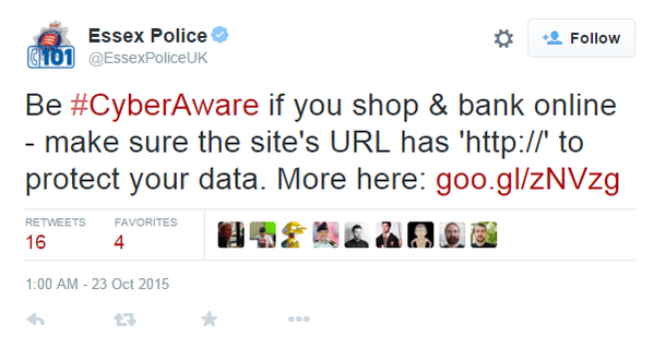 "Fake ""#CyberAware"" message from Essex Police"