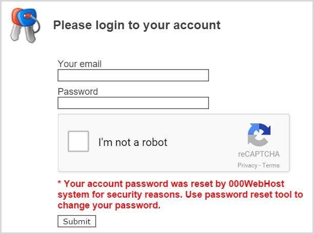 Login showing passwords have been reset