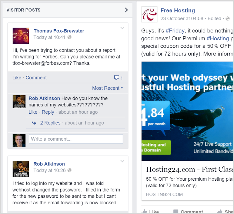 Comments on 000webhost Facebook page