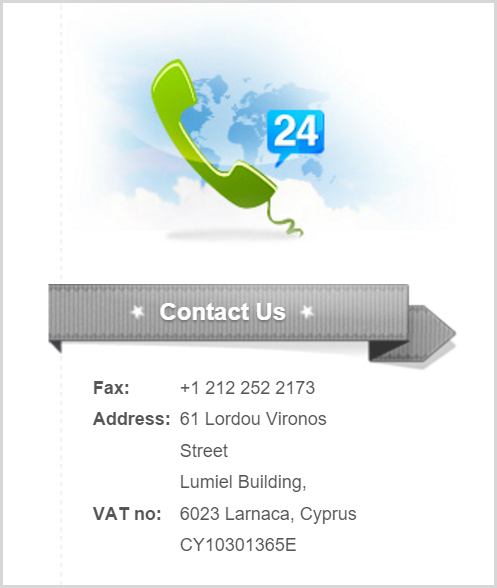 Contact us with fax and Cyprus address