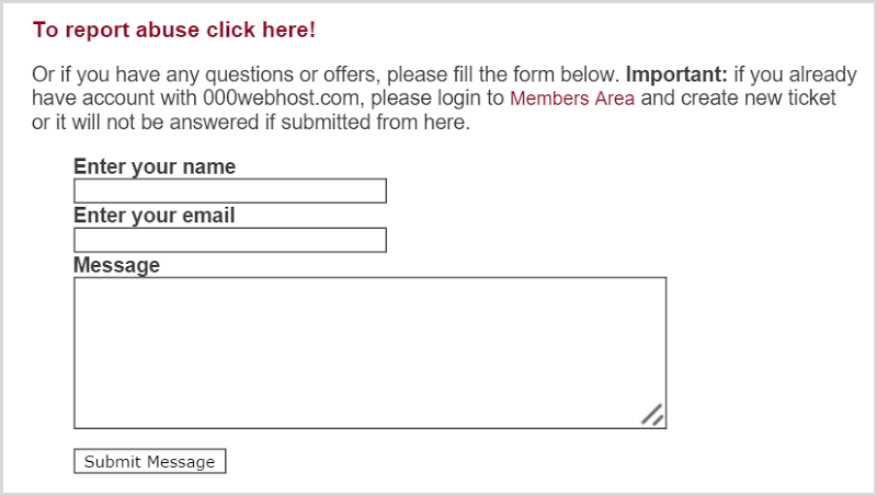 Form for reporting abuse