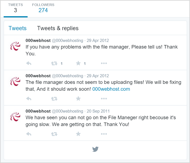 Only 3 tweets for 000webhost