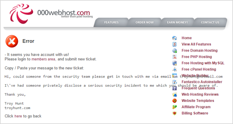 000webhost form (with error)