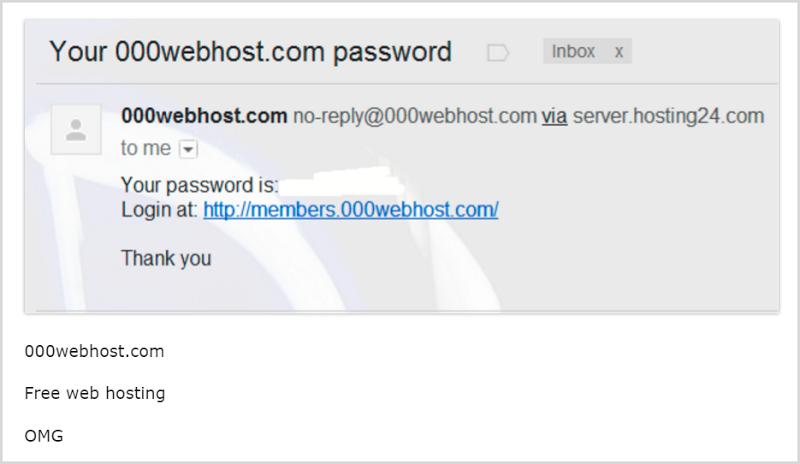 000webhost sending passwords via email