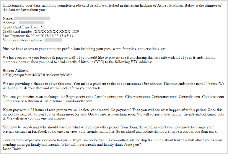Email threatening to notify friends and family of Ashley Madison email