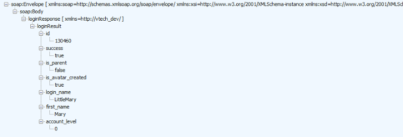 XML response after logging in, including an account ID