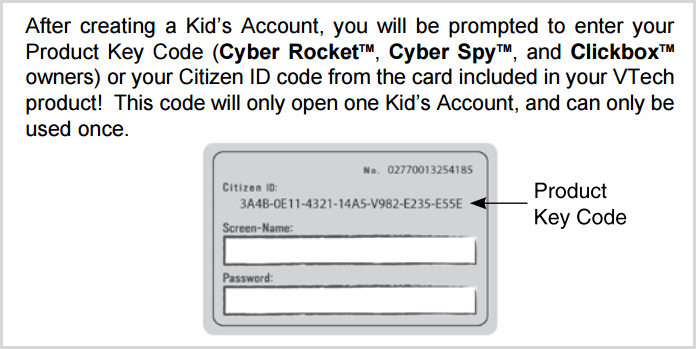 Where to find the VTech Citizen ID