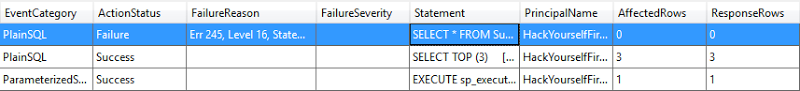 The SQL injection attack in the logs