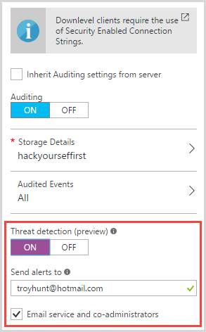 Configuring threat detection