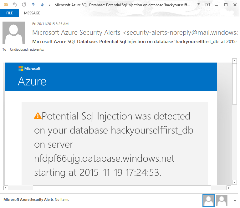 An email alert about SQL injection