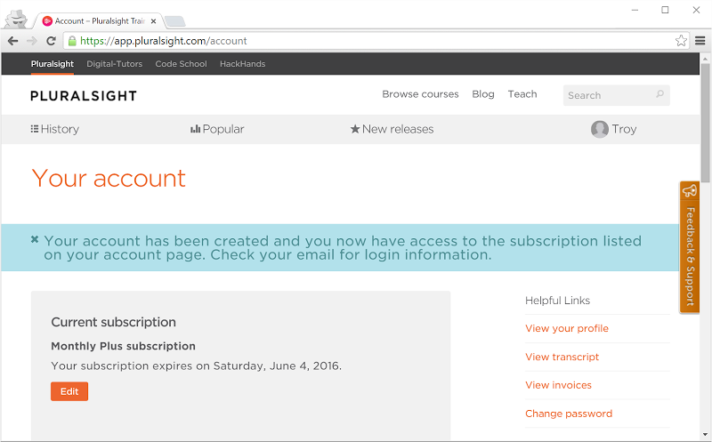 Pluralsight subscription running for another six months
