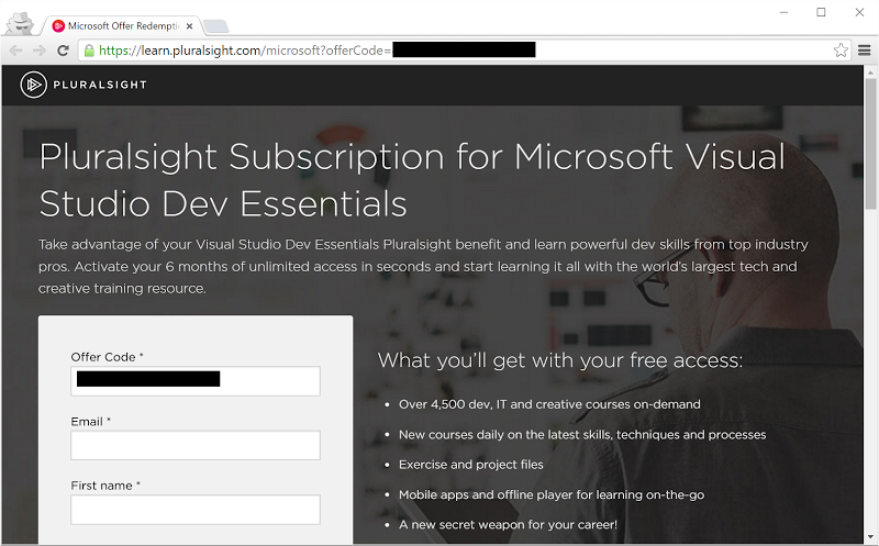 Activating the Pluralsight subscription from Dev Essentials