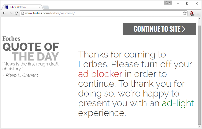 Forbes blocking ad blockers