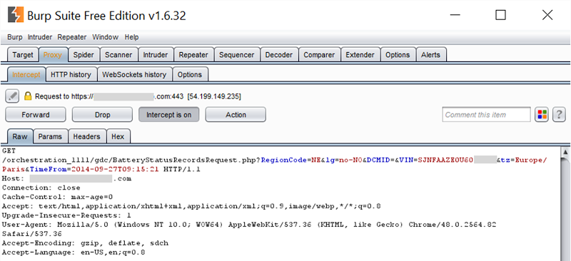Burp Suite showing the request made for Jan's LEAF