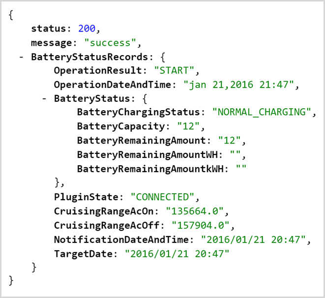 json response showing the status of jans battery