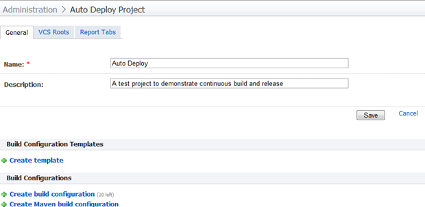 The project configuration home page in TeamCity