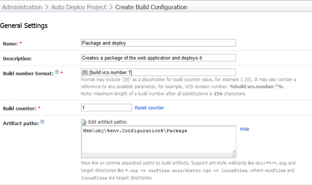 Creating a new build configuration to package and deploy
