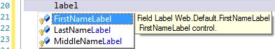 Intellisense finding all label controls