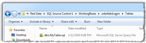 The working directory for the database tables