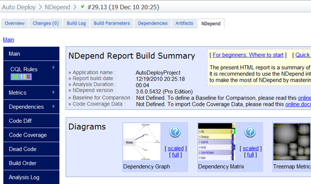The NDepend report accessible via a tab on the build page