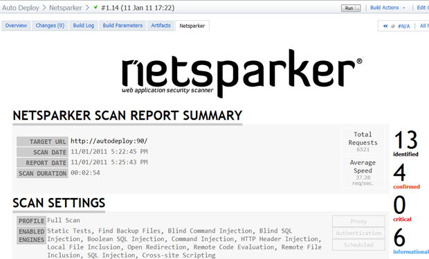 The successful Netsparker report on the build page