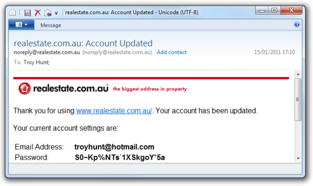 Realestate.com.au email with changed password