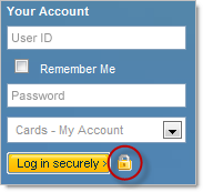 Logging in securely with a padlock