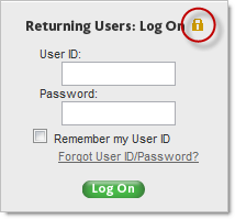 Returning users logon with a padlock