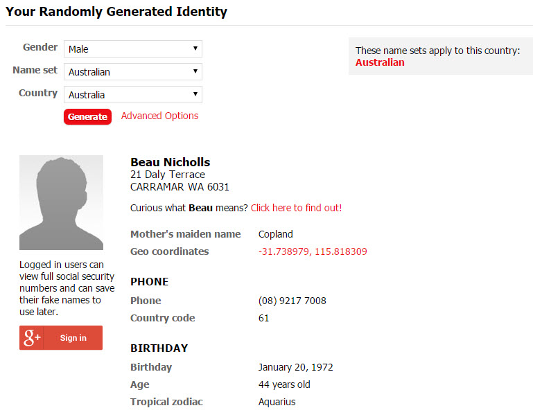 A generated fake identity