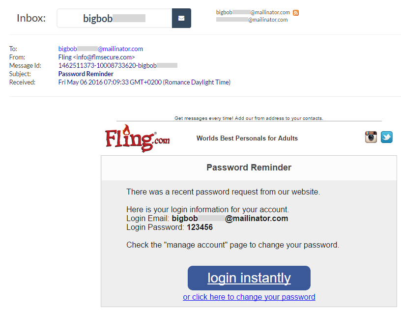 Fling password reset sent to a Mailinator account