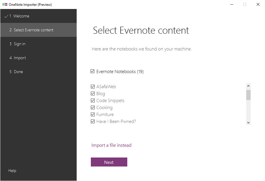 Select Evernote content