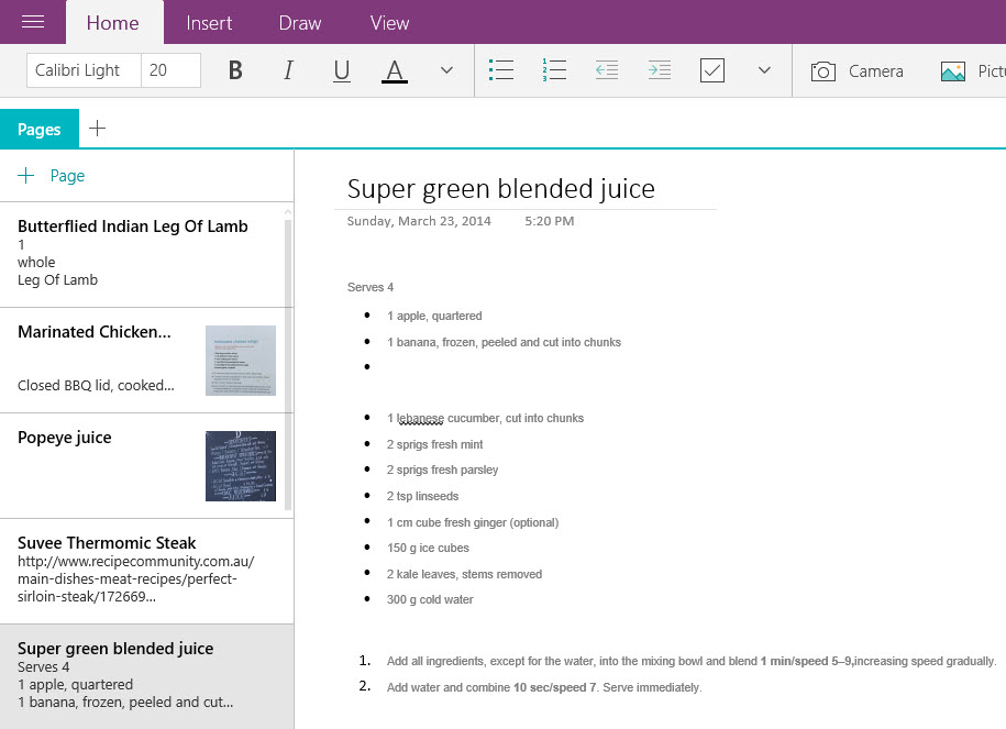 The same note in OneNote on the desktop