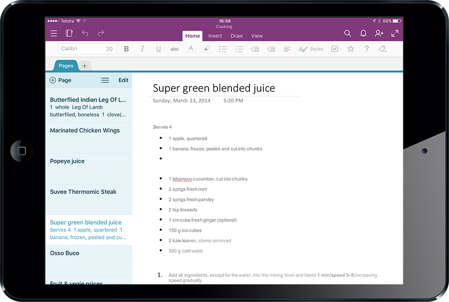 The same note in OneNote on iPad