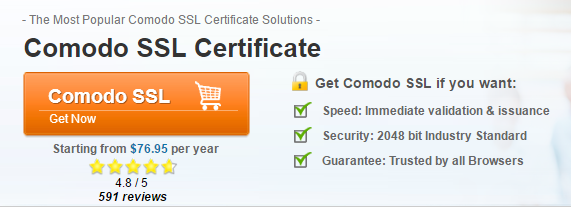 Comodo certificate starting from $76.95 per year