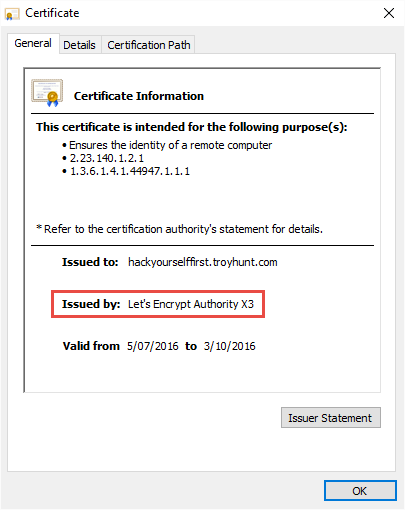 Hack Yourself First serving the new Let's Encrypt cert