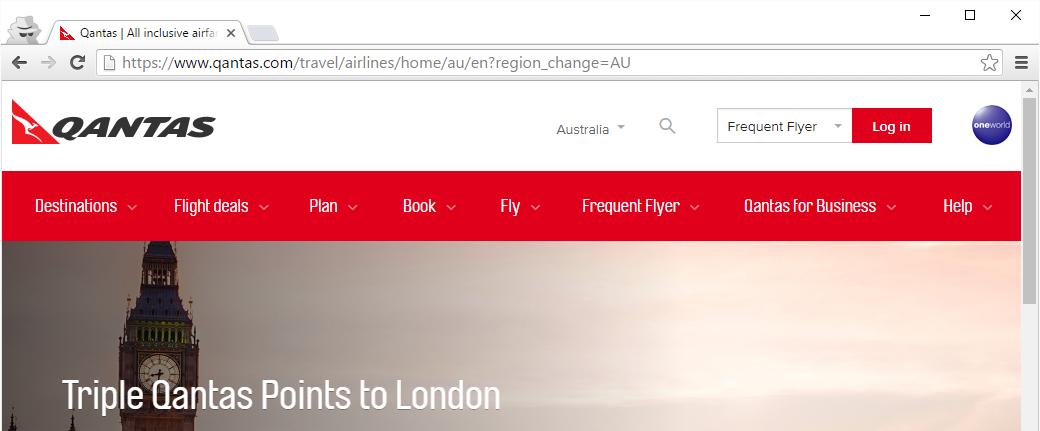 Insecure Qantas page