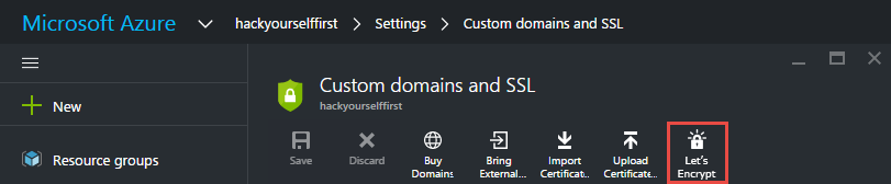 Mockup of Let's Encrypt in Azure