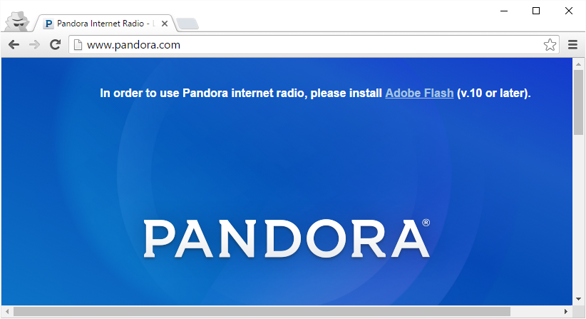 Flash is required to login to Pandora