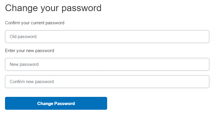 PayPal's change password page