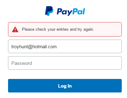 Failed PayPal login