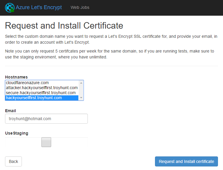 Request and install certificate