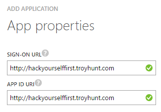 Setting the app properties to any valid URL